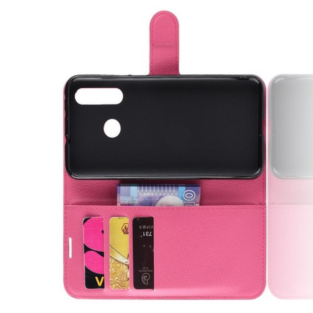Флип чехол книжка с кошельком подставкой отделениями для карт и магнитной застежкой для Huawei Nova 4 Розовый