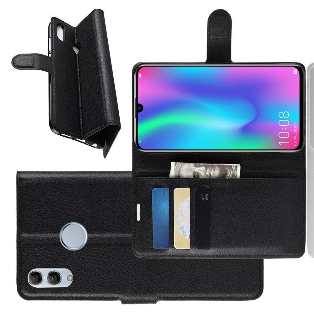 Флип чехол книжка с кошельком подставкой отделениями для карт и магнитной застежкой для Huawei P Smart 2019 Черный