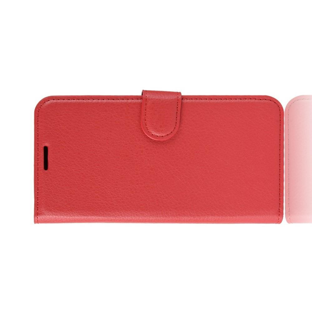 Флип чехол книжка с кошельком подставкой отделениями для карт и магнитной застежкой для Huawei P Smart 2019 Красный