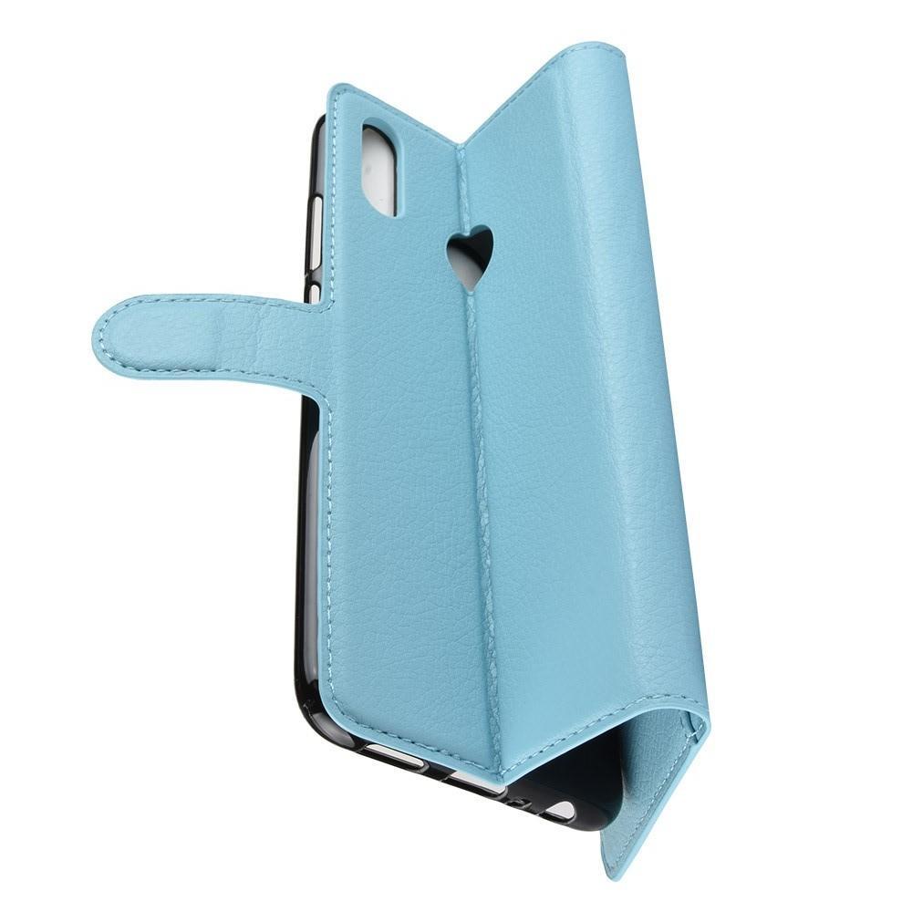 Флип чехол книжка с кошельком подставкой отделениями для карт и магнитной застежкой для Huawei P Smart 2019 Голубой