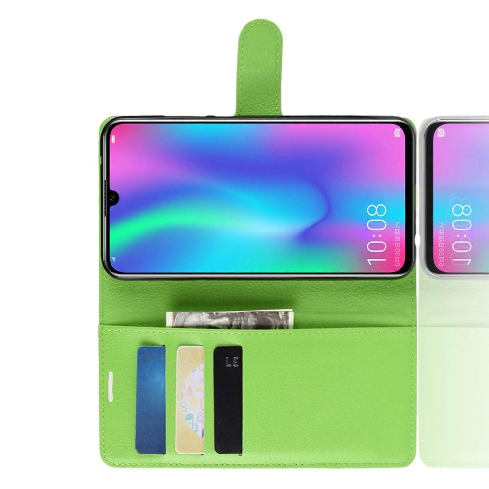 Флип чехол книжка с кошельком подставкой отделениями для карт и магнитной застежкой для Huawei P Smart 2019 Зеленый