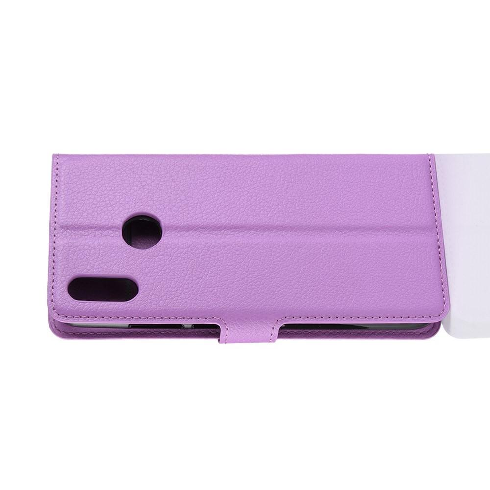 Флип чехол книжка с кошельком подставкой отделениями для карт и магнитной застежкой для Huawei P Smart 2019 Фиолетовый