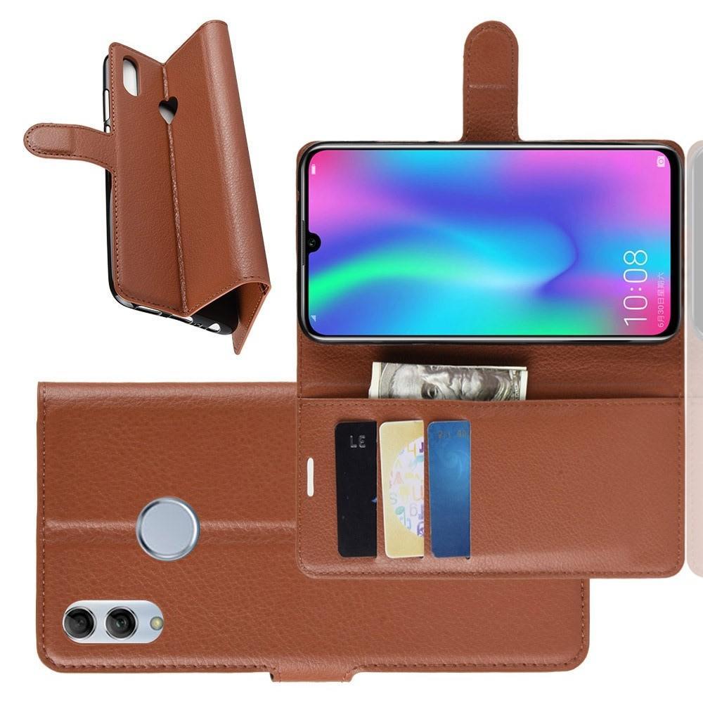 Флип чехол книжка с кошельком подставкой отделениями для карт и магнитной застежкой для Huawei P Smart 2019 Коричневый
