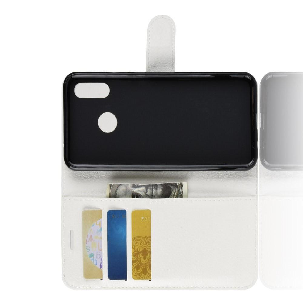 Флип чехол книжка с кошельком подставкой отделениями для карт и магнитной застежкой для Huawei P smart+ / Nova 3i Белый