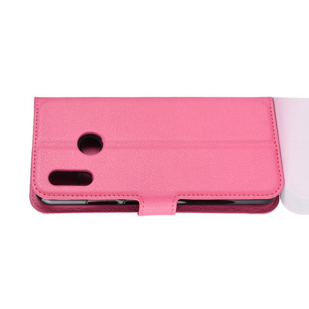Флип чехол книжка с кошельком подставкой отделениями для карт и магнитной застежкой для Huawei P smart+ / Nova 3i Розовый