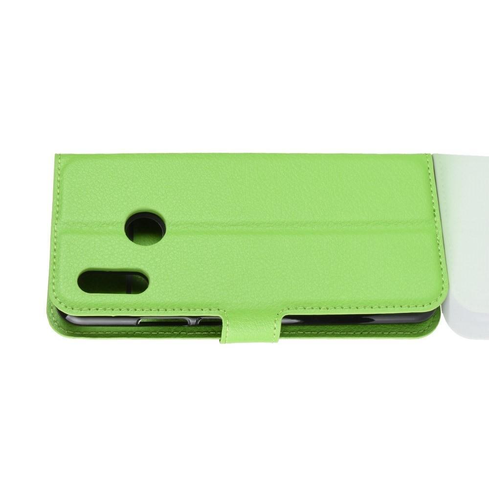 Флип чехол книжка с кошельком подставкой отделениями для карт и магнитной застежкой для Huawei P smart+ / Nova 3i Зеленый