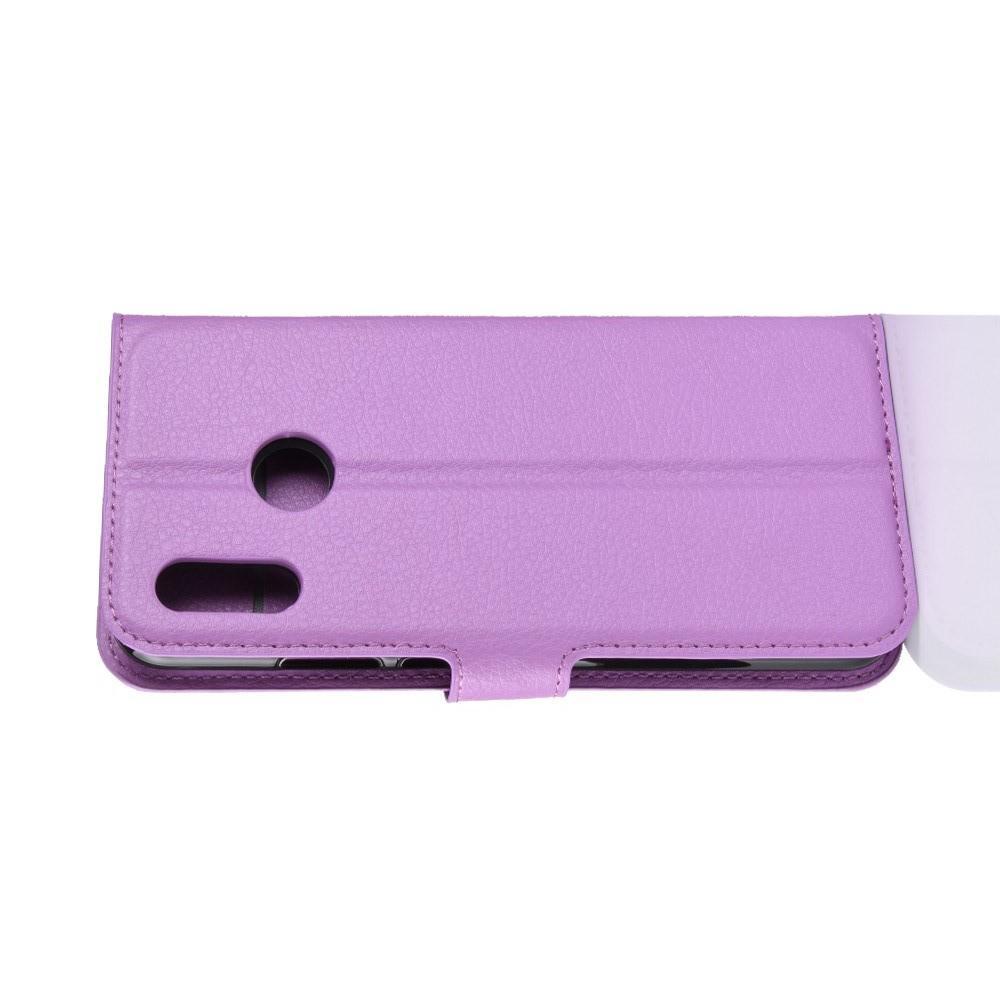 Флип чехол книжка с кошельком подставкой отделениями для карт и магнитной застежкой для Huawei P smart+ / Nova 3i Фиолетовый