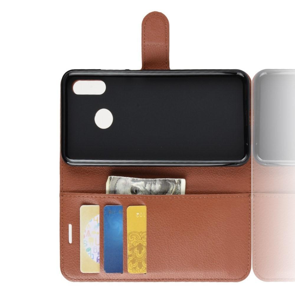 Флип чехол книжка с кошельком подставкой отделениями для карт и магнитной застежкой для Huawei P smart+ / Nova 3i Коричневый