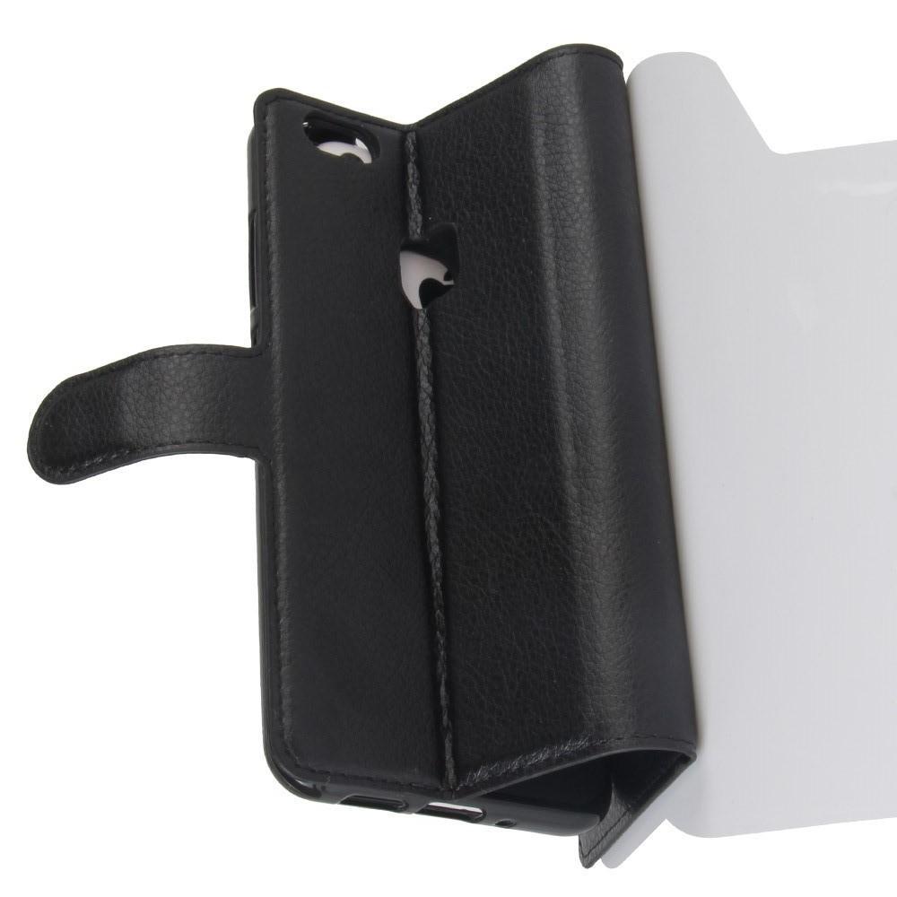 Флип чехол книжка с кошельком подставкой отделениями для карт и магнитной застежкой для Huawei P10 Lite Черный