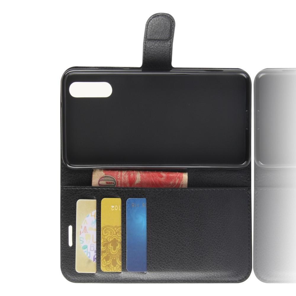 Флип чехол книжка с кошельком подставкой отделениями для карт и магнитной застежкой для Huawei P20 Черный
