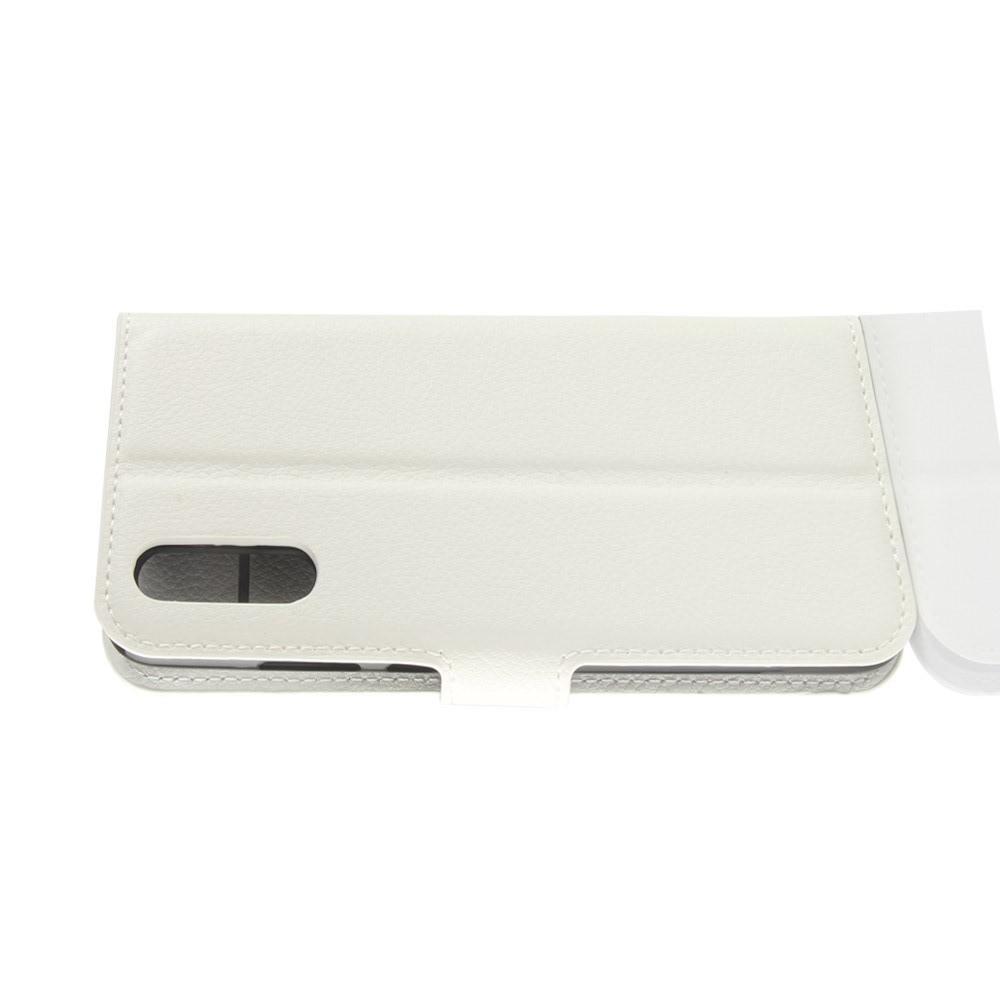 Флип чехол книжка с кошельком подставкой отделениями для карт и магнитной застежкой для Huawei P20 Белый