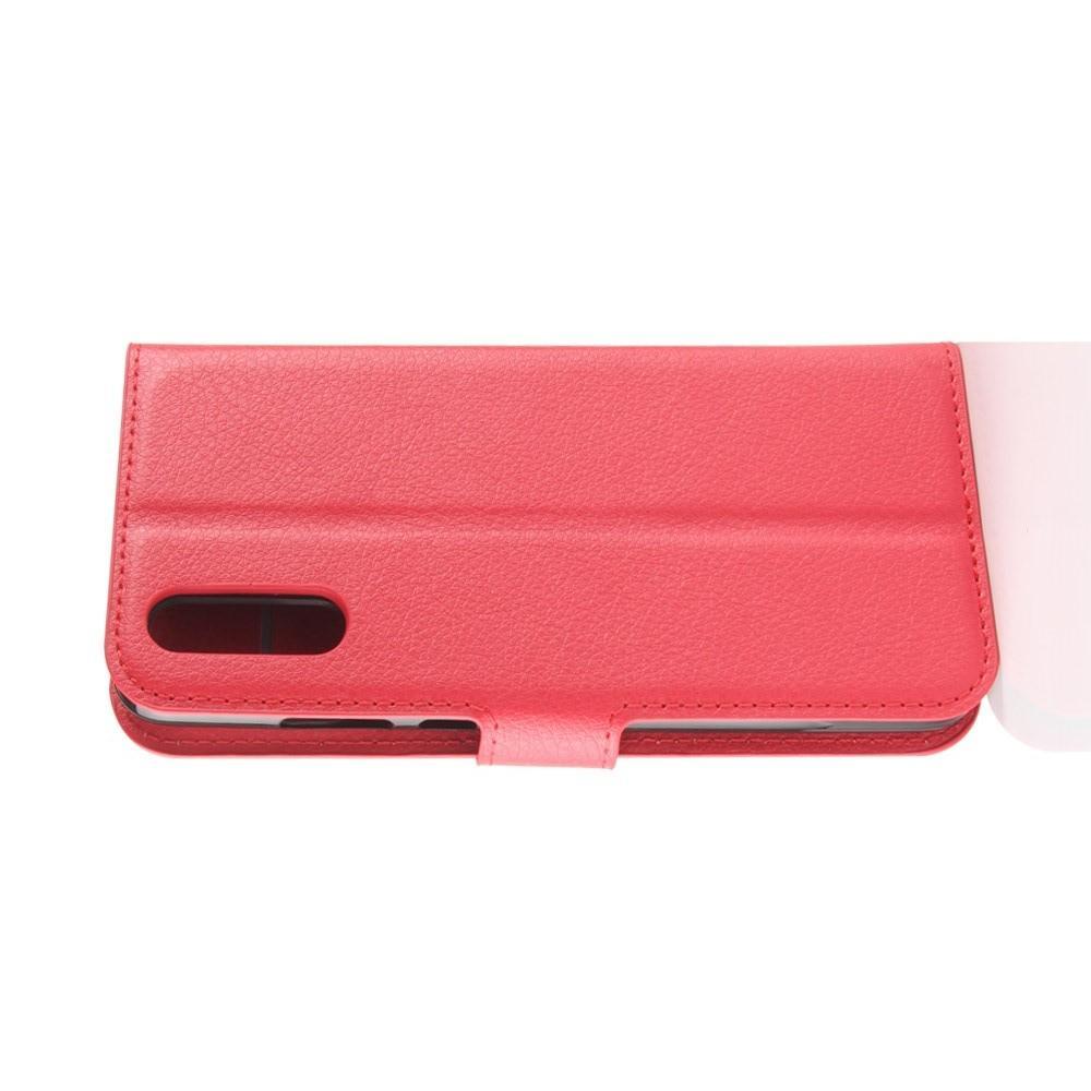 Флип чехол книжка с кошельком подставкой отделениями для карт и магнитной застежкой для Huawei P20 Красный