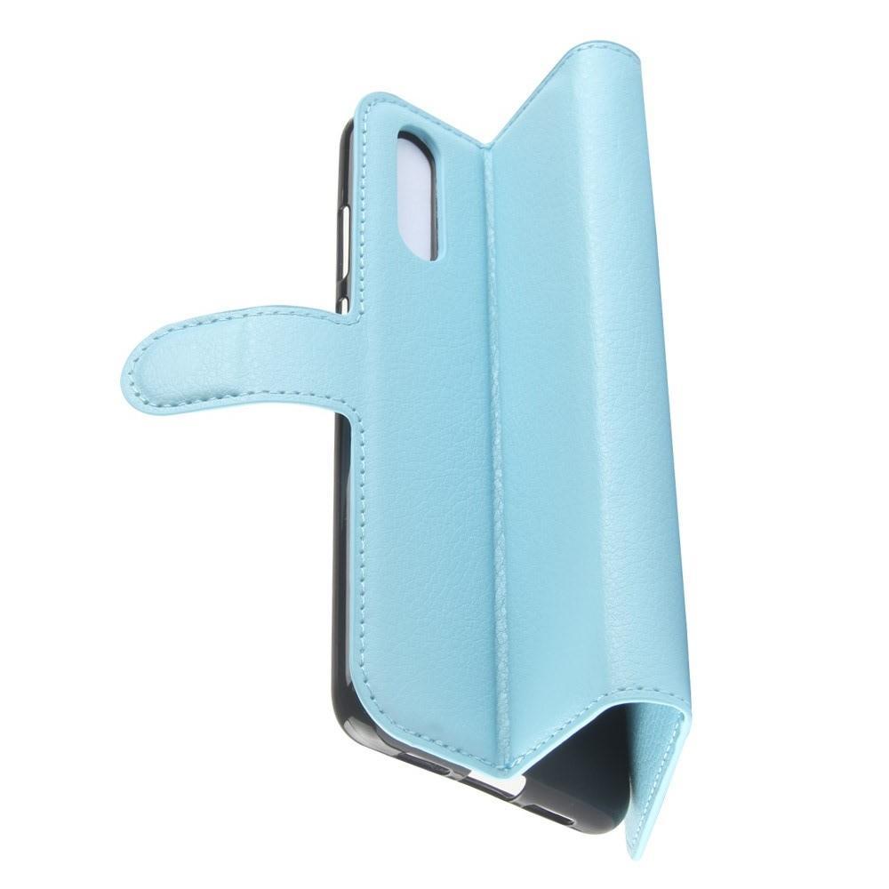 Флип чехол книжка с кошельком подставкой отделениями для карт и магнитной застежкой для Huawei P20 Голубой