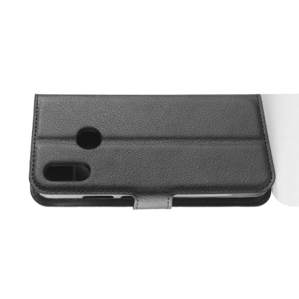 Флип чехол книжка с кошельком подставкой отделениями для карт и магнитной застежкой для Huawei P20 lite Черный