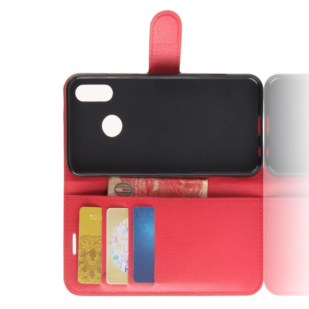 Флип чехол книжка с кошельком подставкой отделениями для карт и магнитной застежкой для Huawei P20 lite Красный