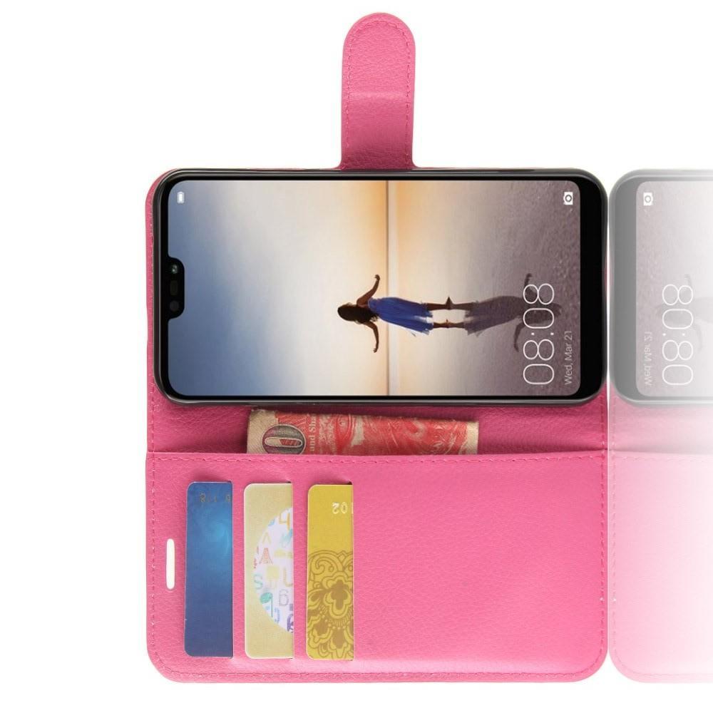 Флип чехол книжка с кошельком подставкой отделениями для карт и магнитной застежкой для Huawei P20 lite Розовый