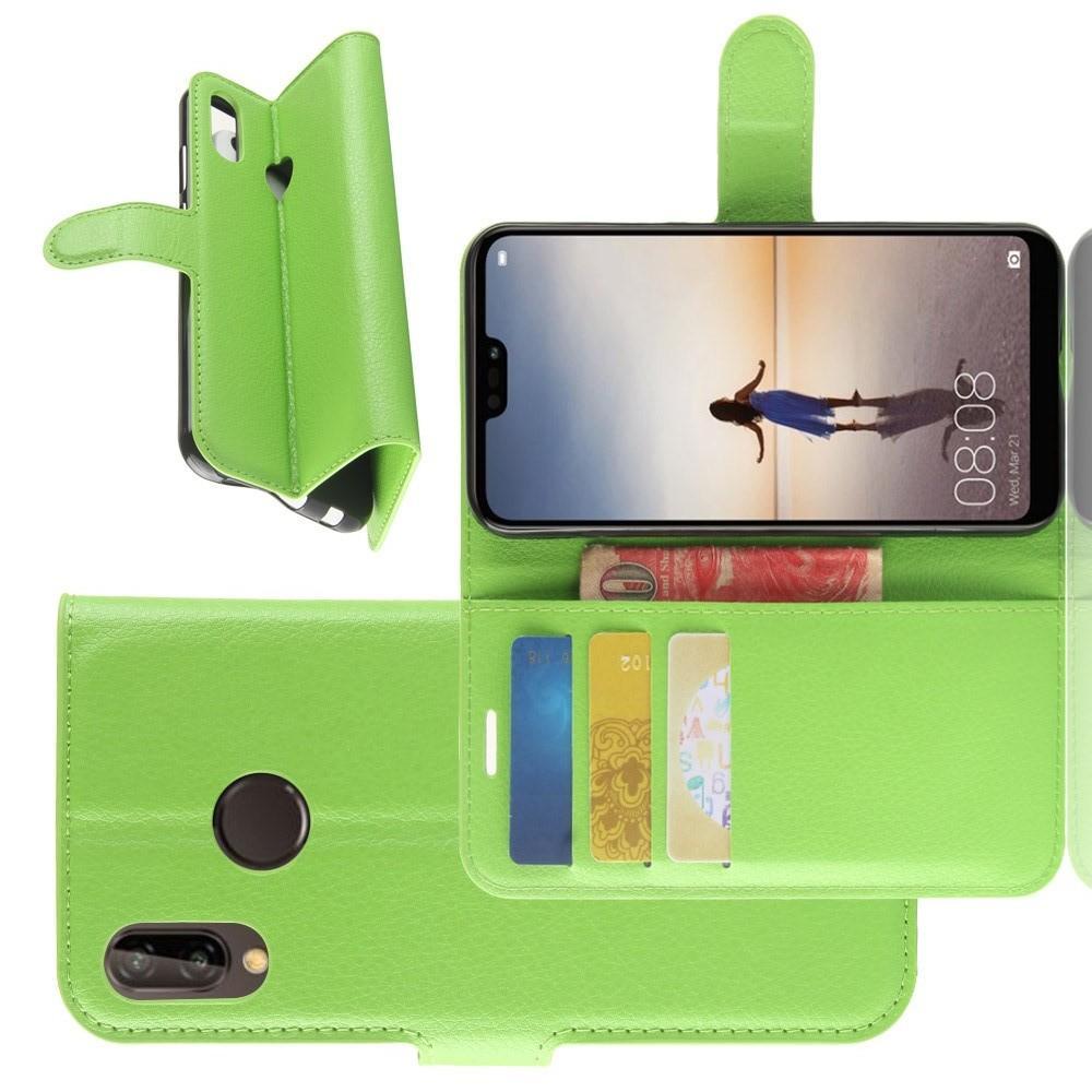 Флип чехол книжка с кошельком подставкой отделениями для карт и магнитной застежкой для Huawei P20 lite Зеленый