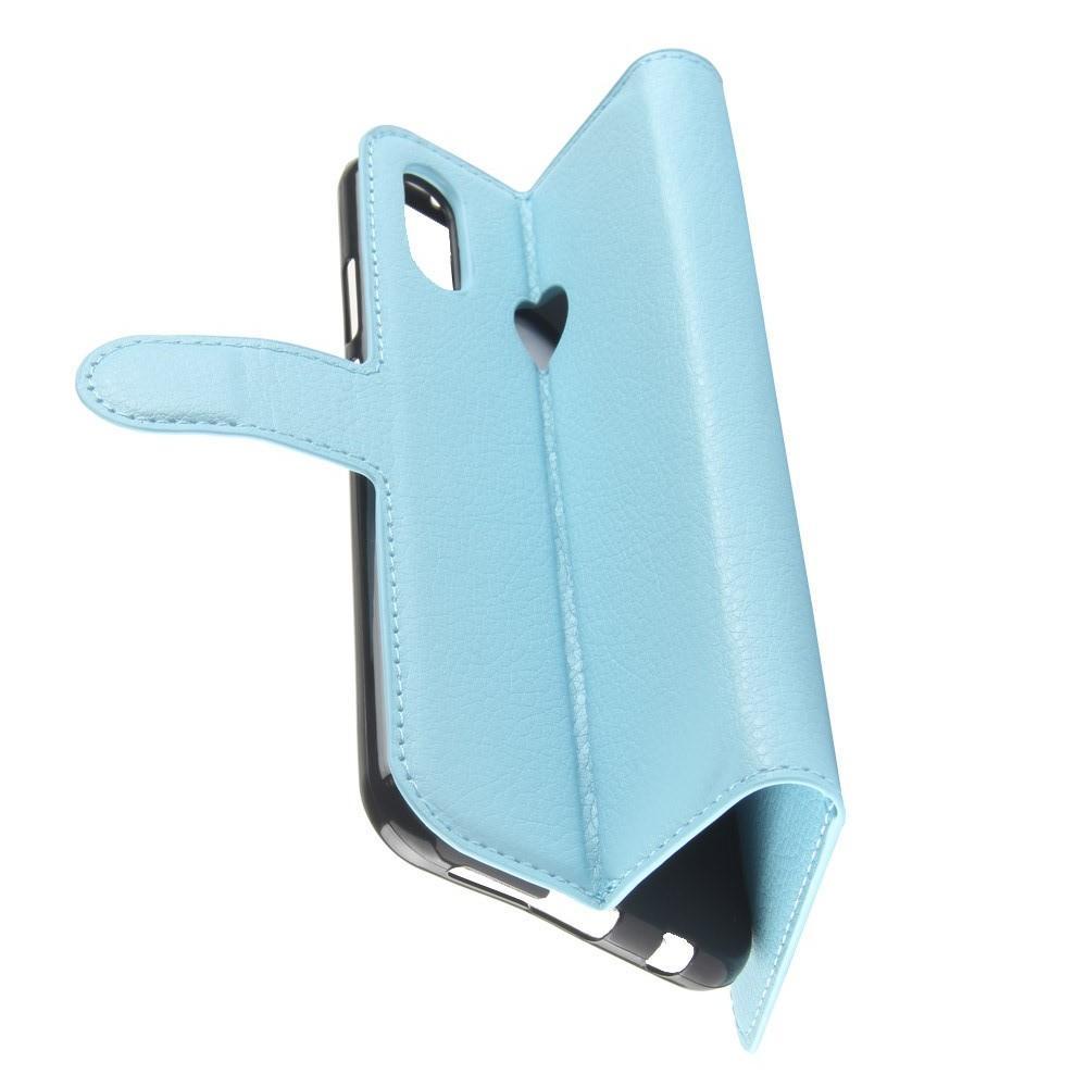 Флип чехол книжка с кошельком подставкой отделениями для карт и магнитной застежкой для Huawei P20 lite Голубой