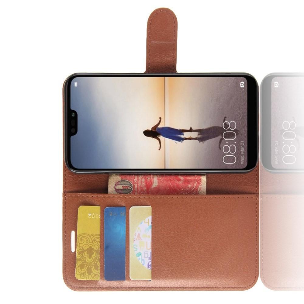 Флип чехол книжка с кошельком подставкой отделениями для карт и магнитной застежкой для Huawei P20 lite Коричневый