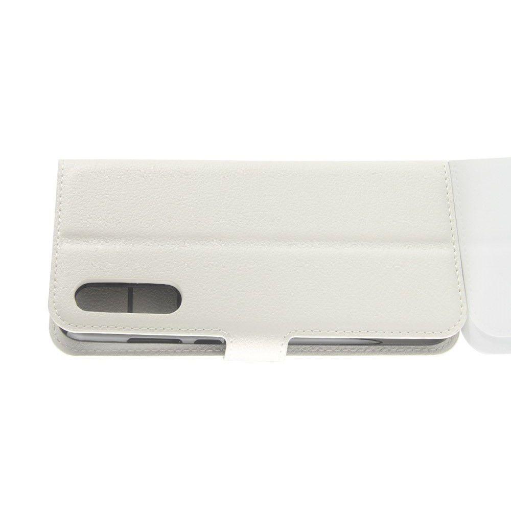 Флип чехол книжка с кошельком подставкой отделениями для карт и магнитной застежкой для Huawei P20 Pro Белый