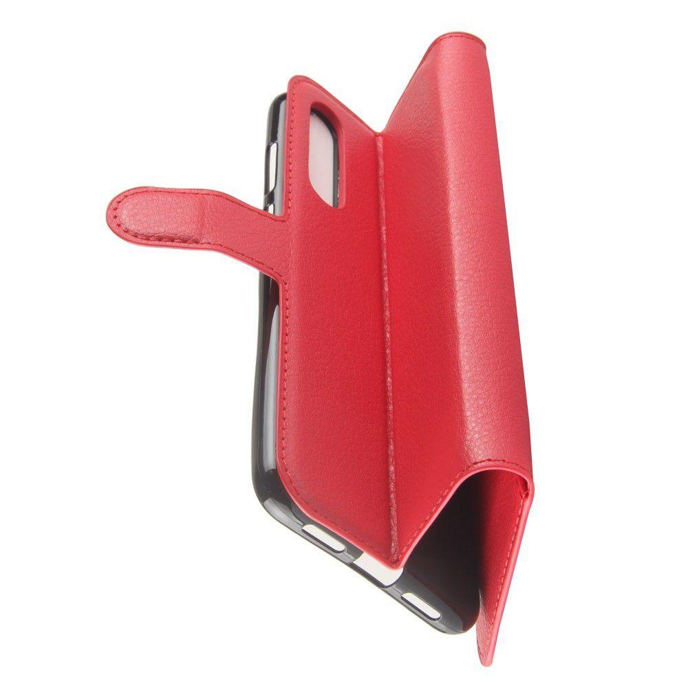 Флип чехол книжка с кошельком подставкой отделениями для карт и магнитной застежкой для Huawei P20 Pro Красный