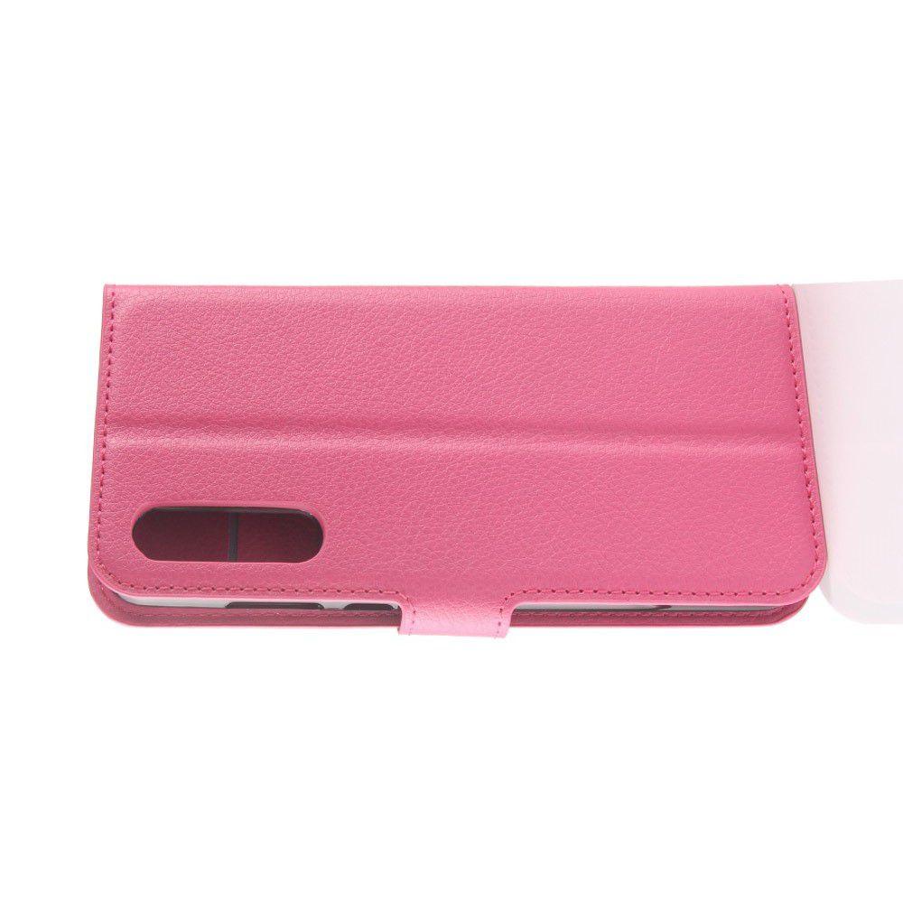 Флип чехол книжка с кошельком подставкой отделениями для карт и магнитной застежкой для Huawei P20 Pro Розовый