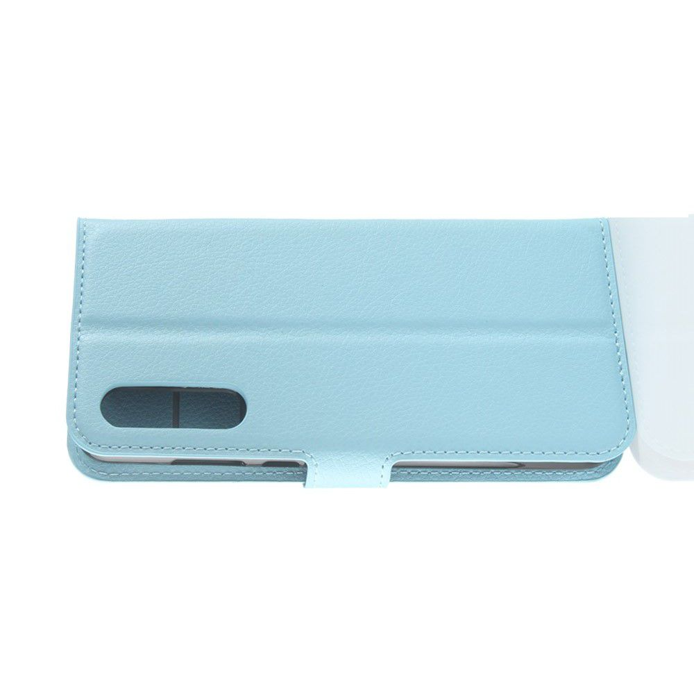 Флип чехол книжка с кошельком подставкой отделениями для карт и магнитной застежкой для Huawei P20 Pro Голубой