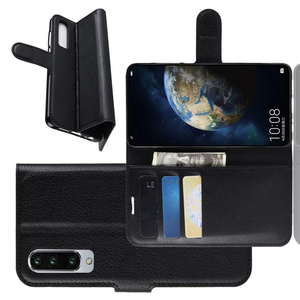 Флип чехол книжка с кошельком подставкой отделениями для карт и магнитной застежкой для Huawei P30 Черный