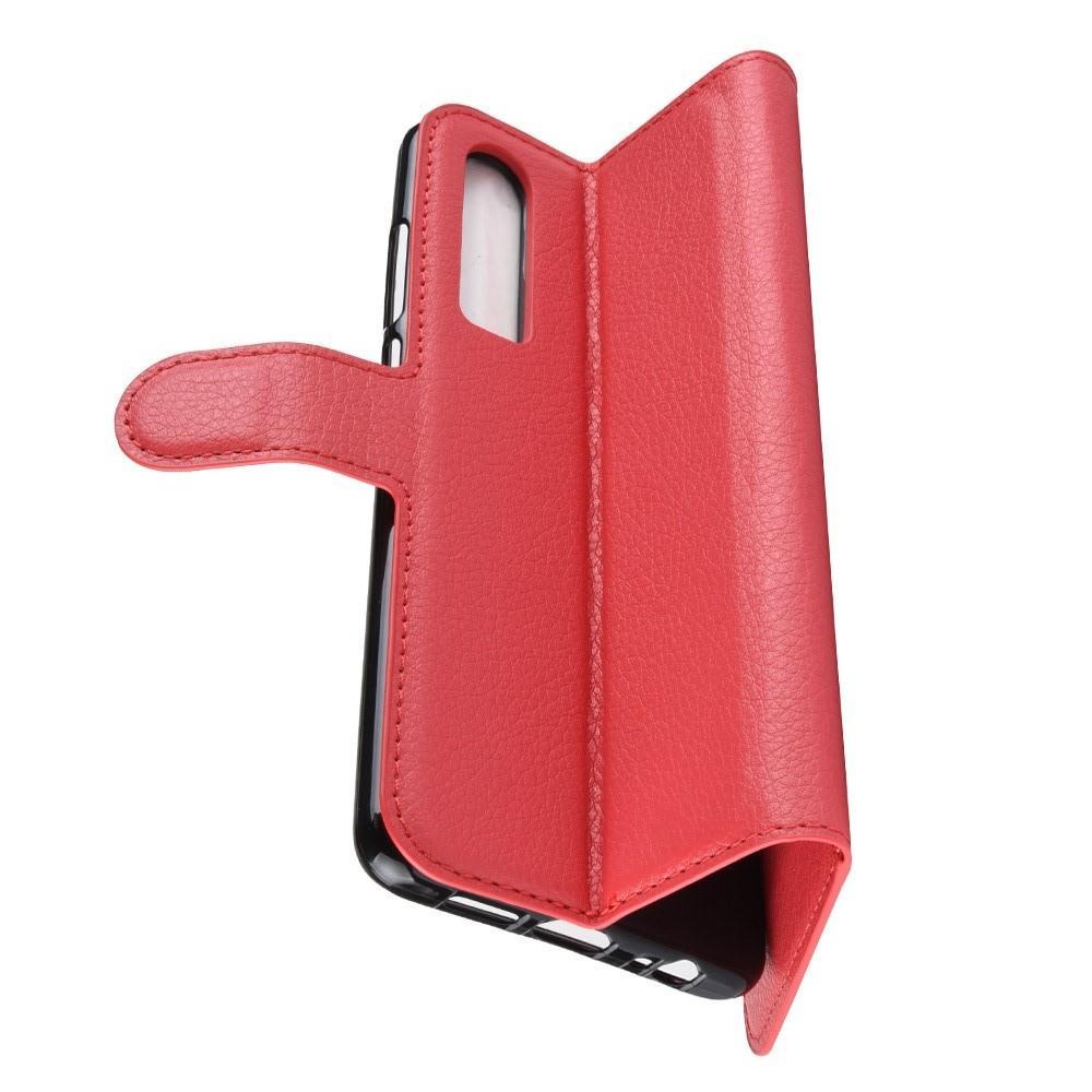 Флип чехол книжка с кошельком подставкой отделениями для карт и магнитной застежкой для Huawei P30 Красный