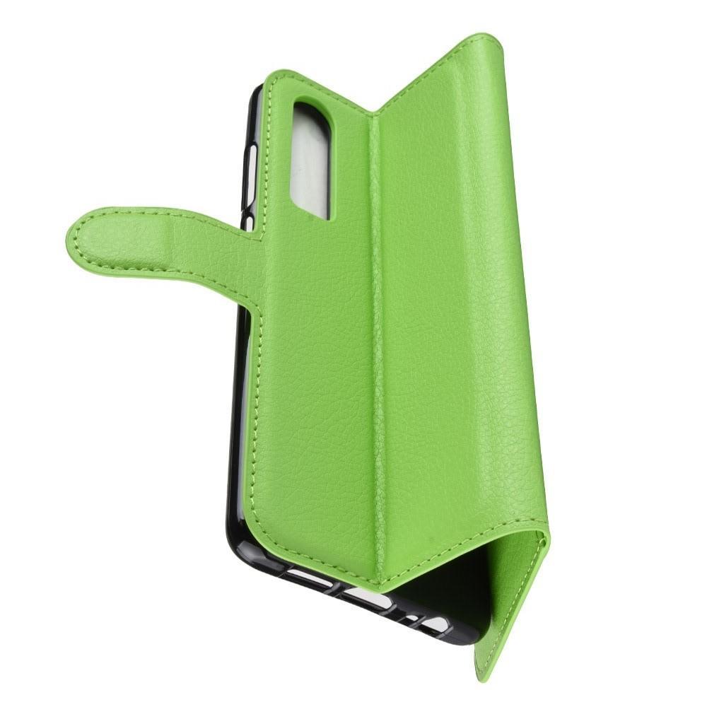 Флип чехол книжка с кошельком подставкой отделениями для карт и магнитной застежкой для Huawei P30 Зеленый