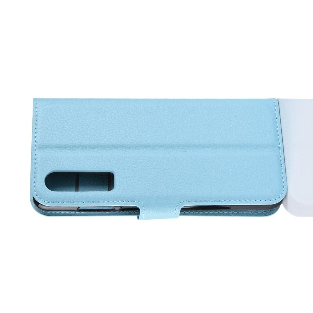 Флип чехол книжка с кошельком подставкой отделениями для карт и магнитной застежкой для Huawei P30 Голубой