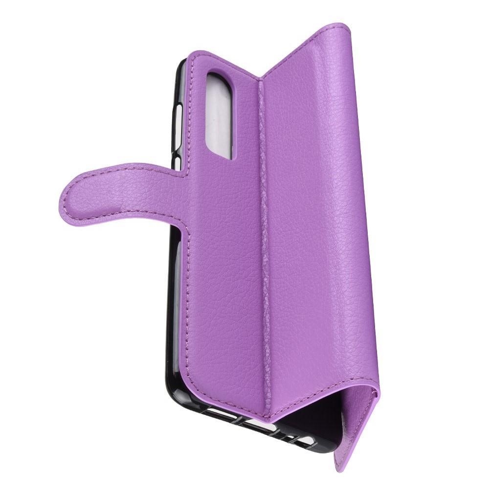 Флип чехол книжка с кошельком подставкой отделениями для карт и магнитной застежкой для Huawei P30 Фиолетовый