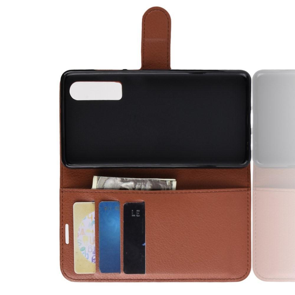 Флип чехол книжка с кошельком подставкой отделениями для карт и магнитной застежкой для Huawei P30 Коричневый