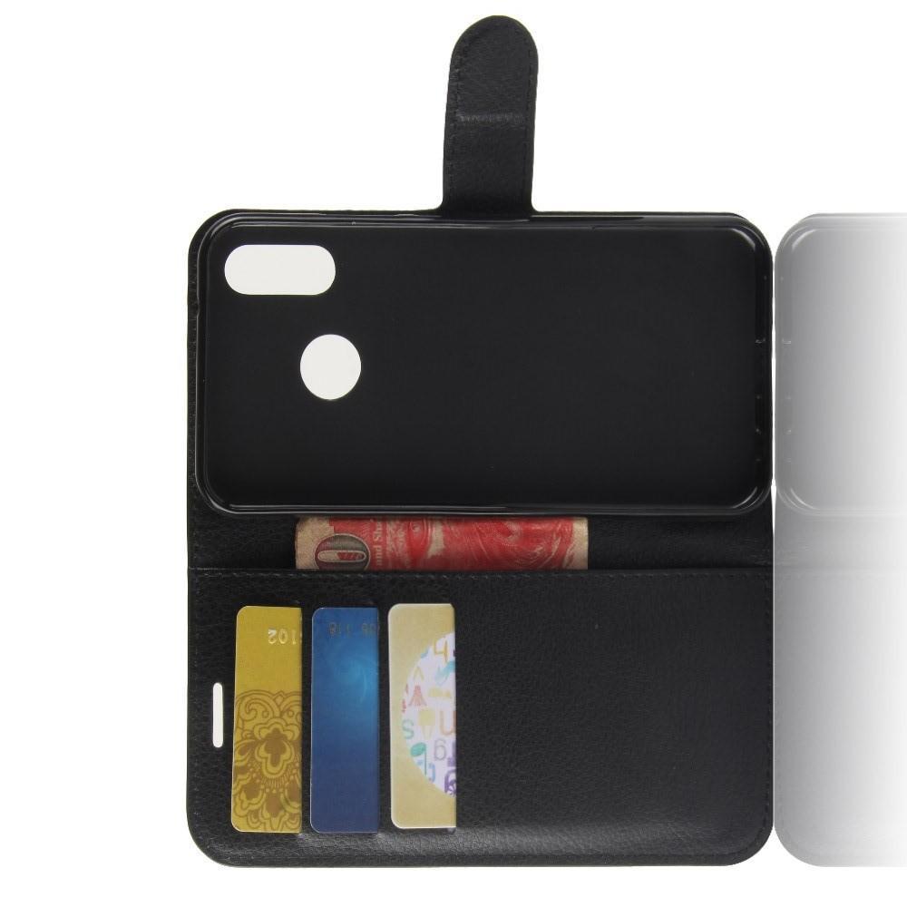 Флип чехол книжка с кошельком подставкой отделениями для карт и магнитной застежкой для Huawei P30 Lite Черный