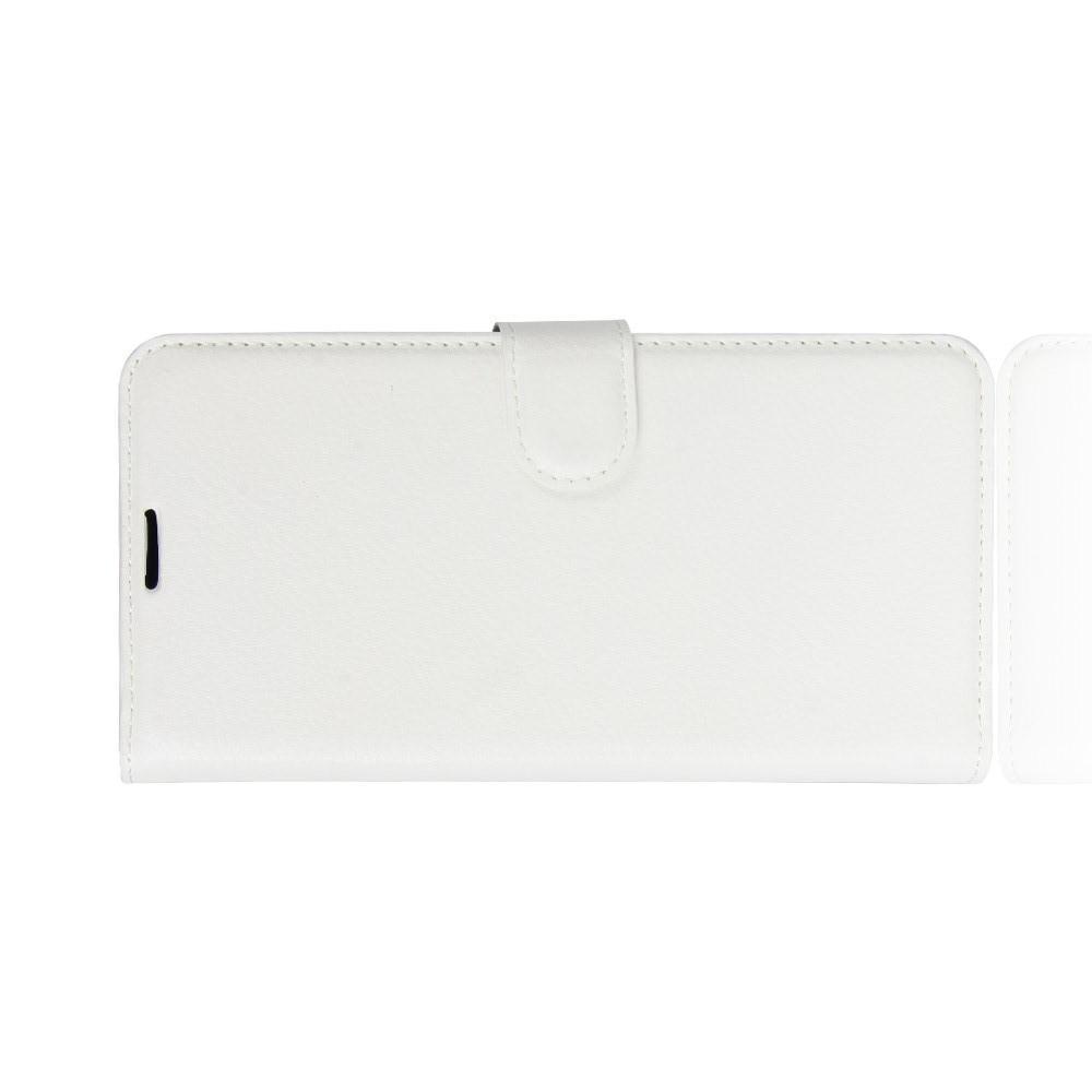 Флип чехол книжка с кошельком подставкой отделениями для карт и магнитной застежкой для Huawei P30 Lite Белый