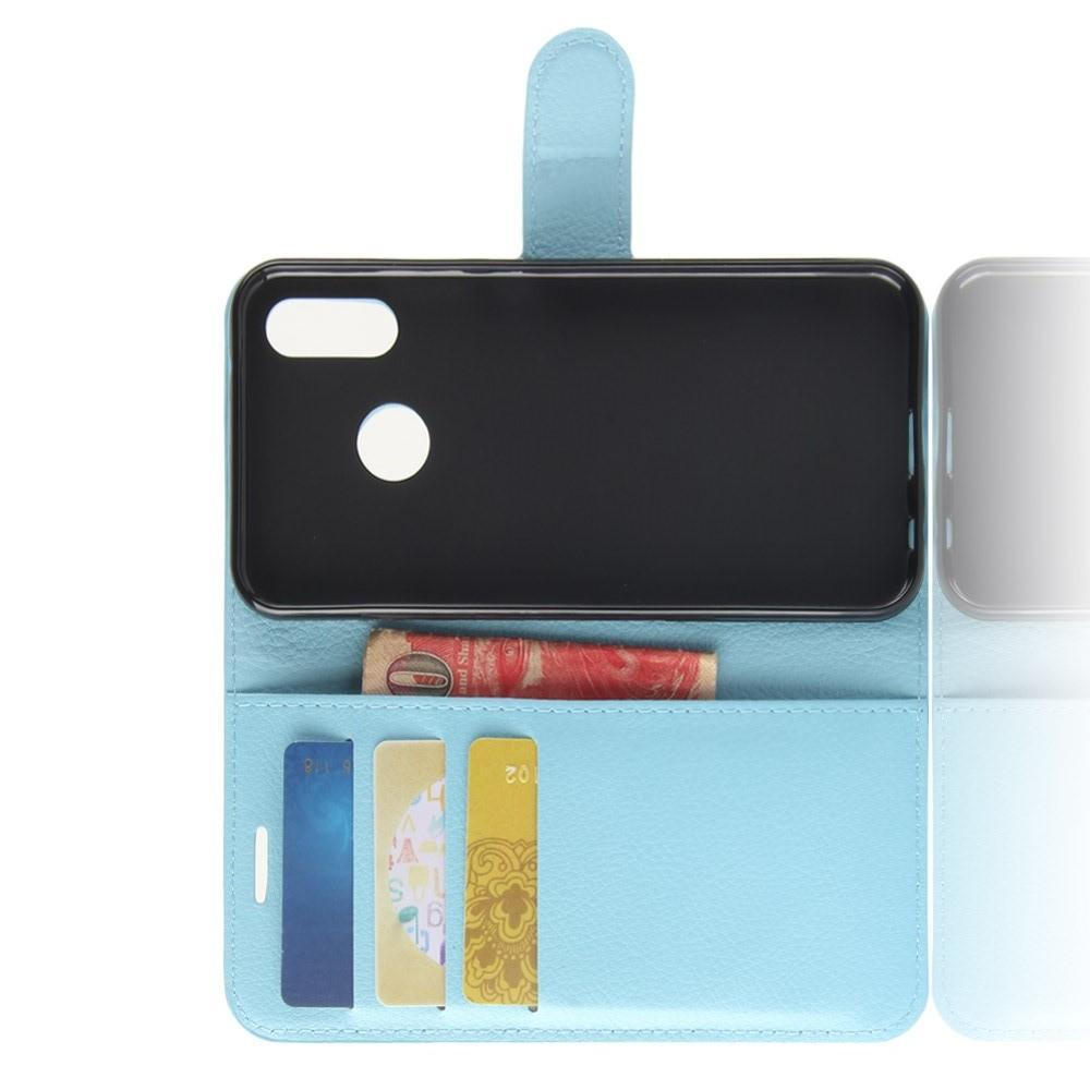 Флип чехол книжка с кошельком подставкой отделениями для карт и магнитной застежкой для Huawei P30 Lite Голубой