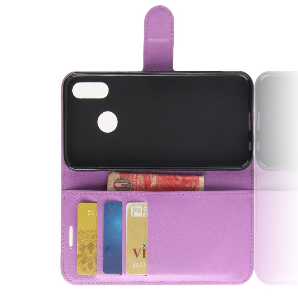 Флип чехол книжка с кошельком подставкой отделениями для карт и магнитной застежкой для Huawei P30 Lite Фиолетовый