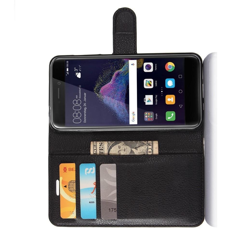 Флип чехол книжка с кошельком подставкой отделениями для карт и магнитной застежкой для Huawei P8 Lite (2017) / Honor 8 Lite Черный