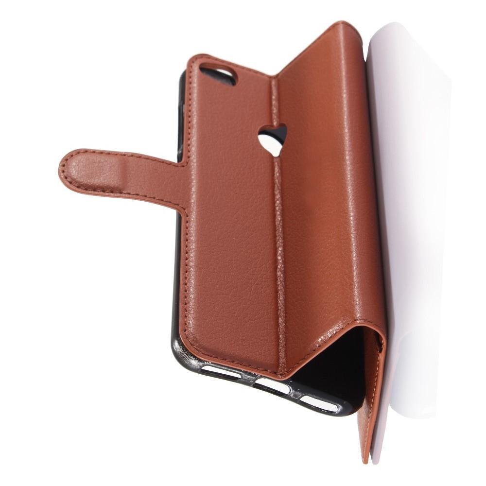 Флип чехол книжка с кошельком подставкой отделениями для карт и магнитной застежкой для Huawei P8 Lite (2017) / Honor 8 Lite Коричневый
