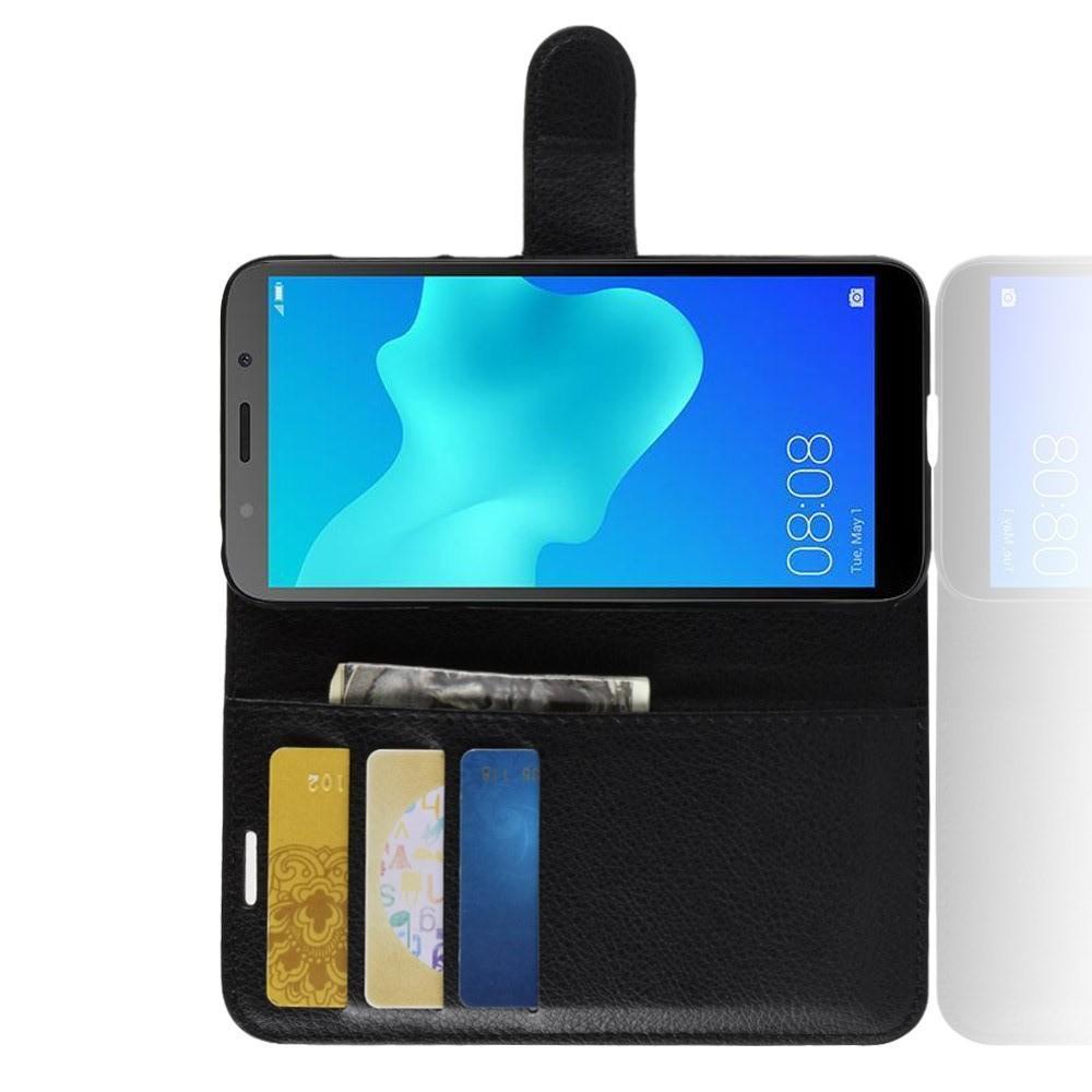 Флип чехол книжка с кошельком подставкой отделениями для карт и магнитной застежкой для Huawei Y5 2018 / Y5 Prime 2018 / Honor 7A Черный