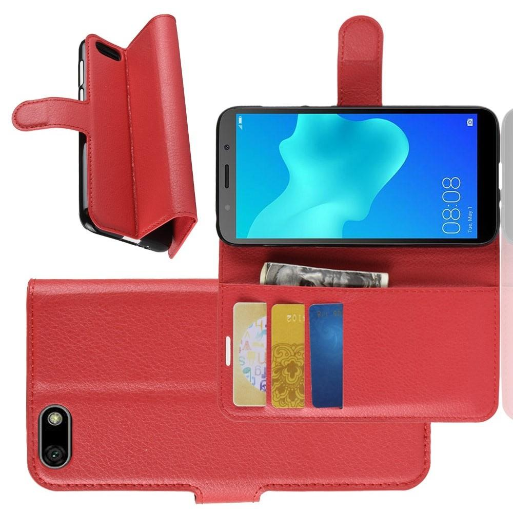 Флип чехол книжка с кошельком подставкой отделениями для карт и магнитной застежкой для Huawei Y5 2018 / Y5 Prime 2018 / Honor 7A Красный