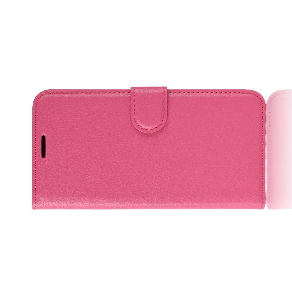 Флип чехол книжка с кошельком подставкой отделениями для карт и магнитной застежкой для Huawei Y5 2018 / Y5 Prime 2018 / Honor 7A Розовый