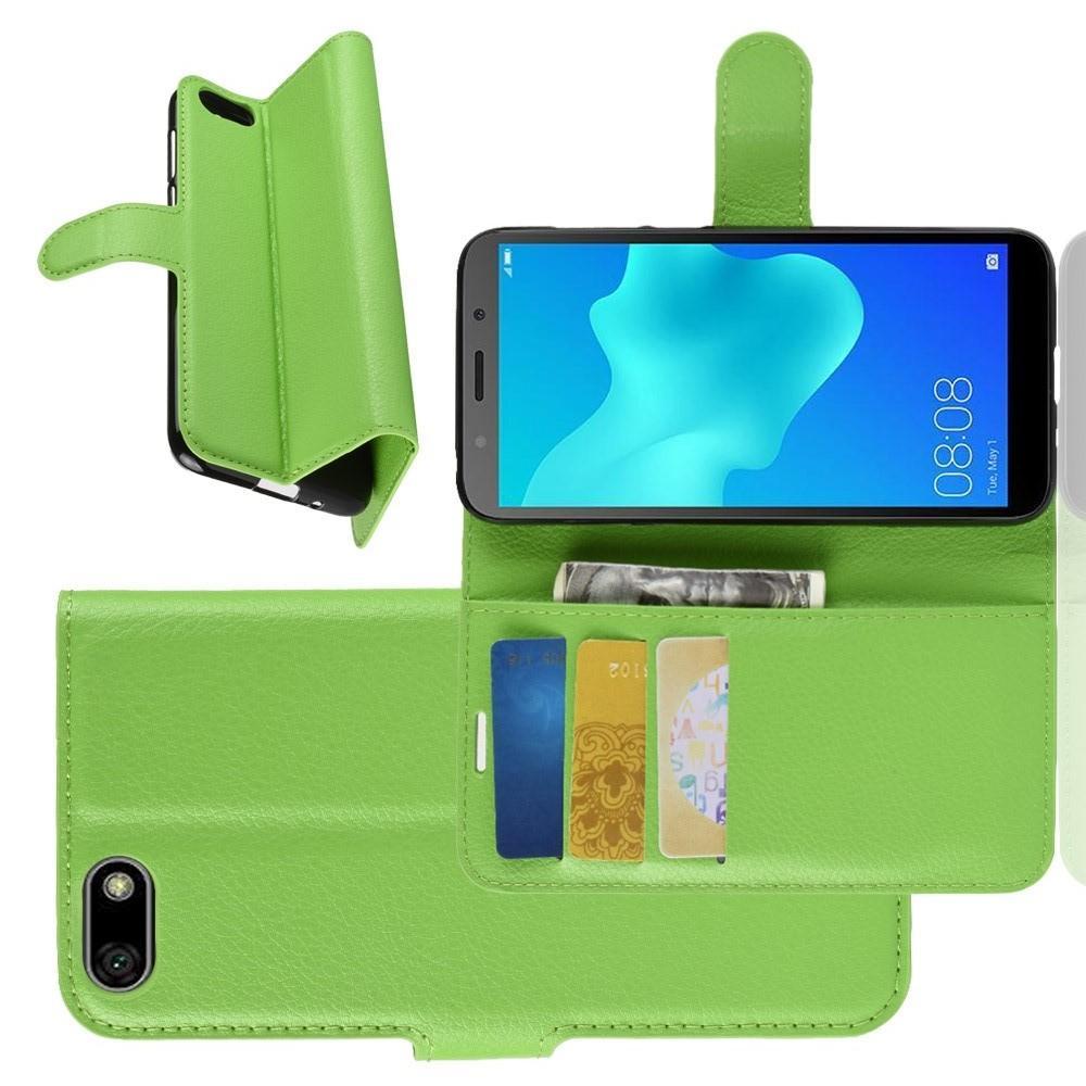 Флип чехол книжка с кошельком подставкой отделениями для карт и магнитной застежкой для Huawei Y5 2018 / Y5 Prime 2018 / Honor 7A Зеленый