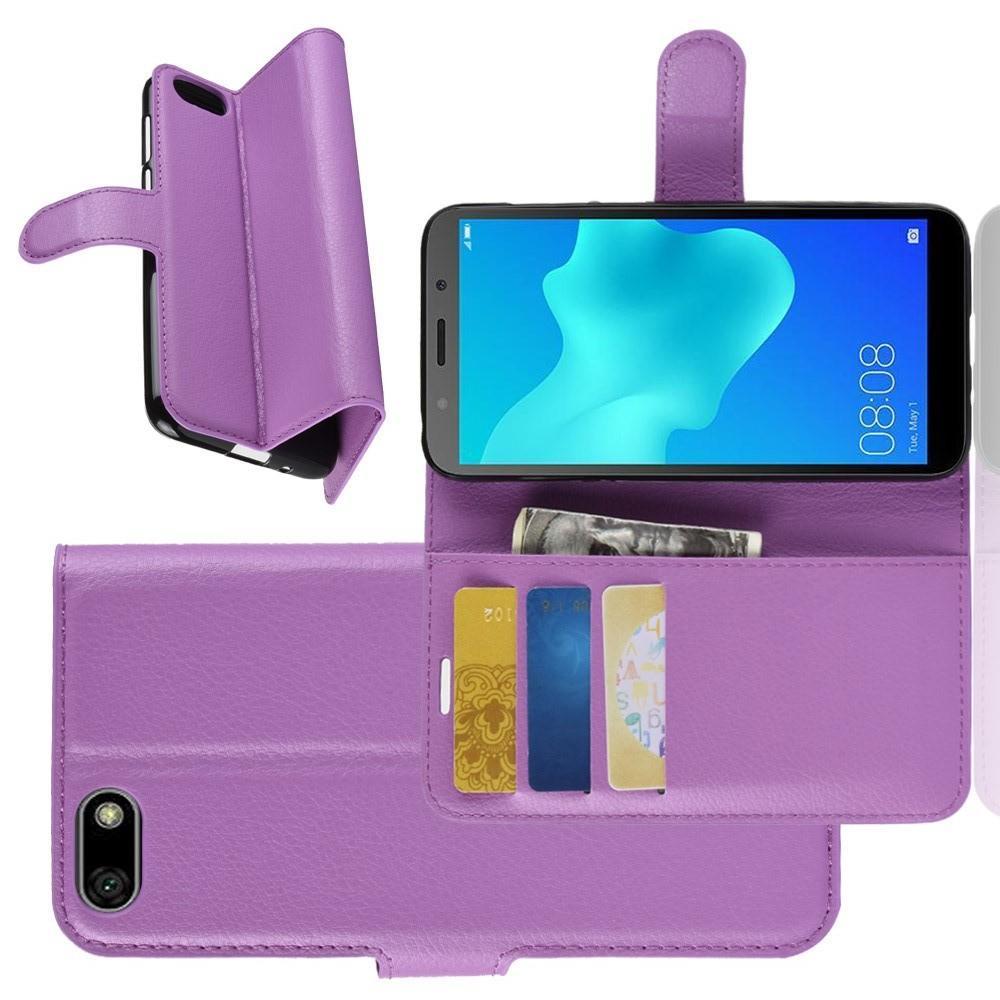 Флип чехол книжка с кошельком подставкой отделениями для карт и магнитной застежкой для Huawei Y5 2018 / Y5 Prime 2018 / Honor 7A Фиолетовый