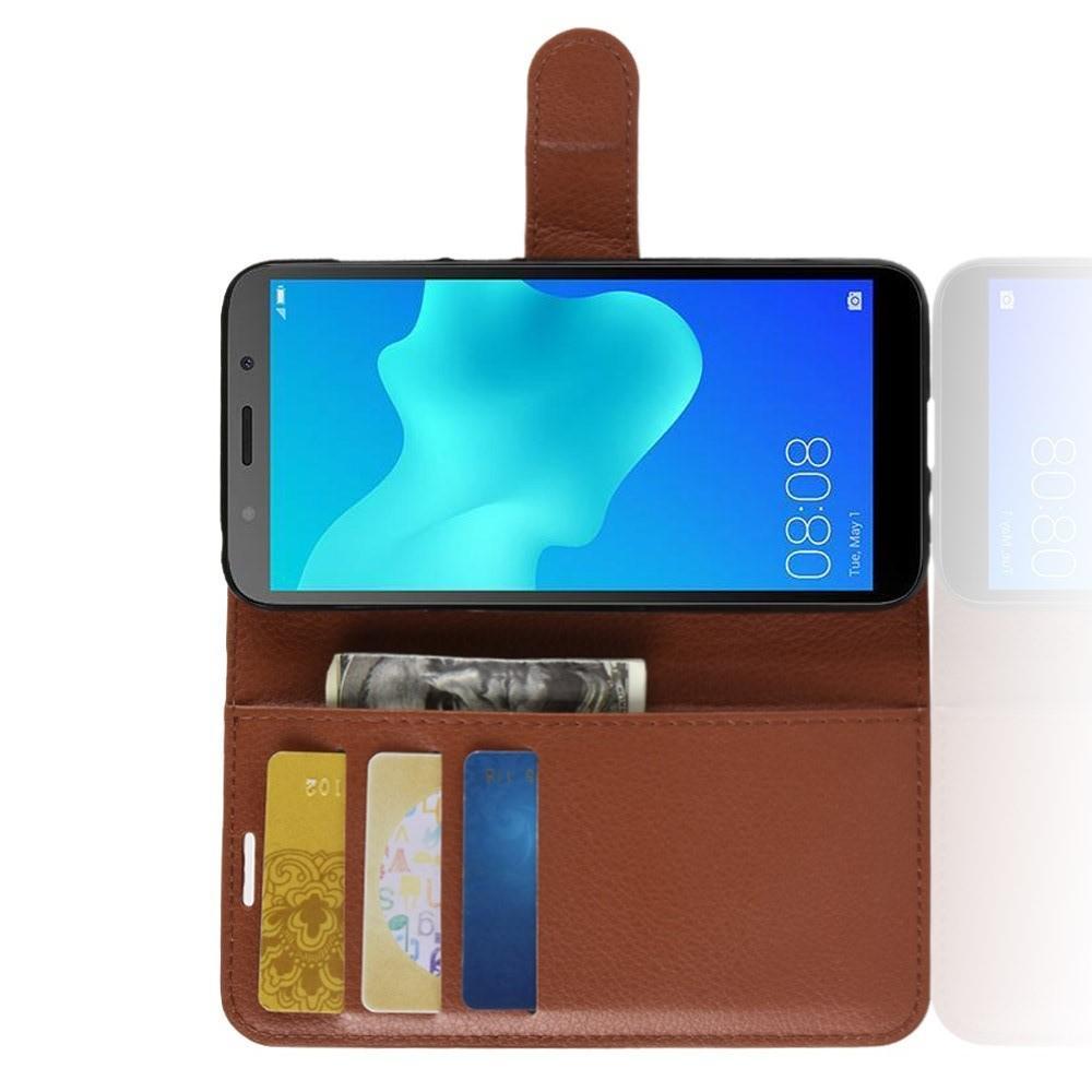 Флип чехол книжка с кошельком подставкой отделениями для карт и магнитной застежкой для Huawei Y5 2018 / Y5 Prime 2018 / Honor 7A Коричневый