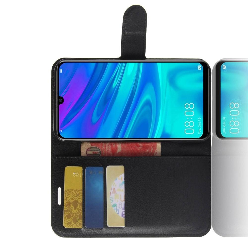 Флип чехол книжка с кошельком подставкой отделениями для карт и магнитной застежкой для Huawei Y7 2019 Черный