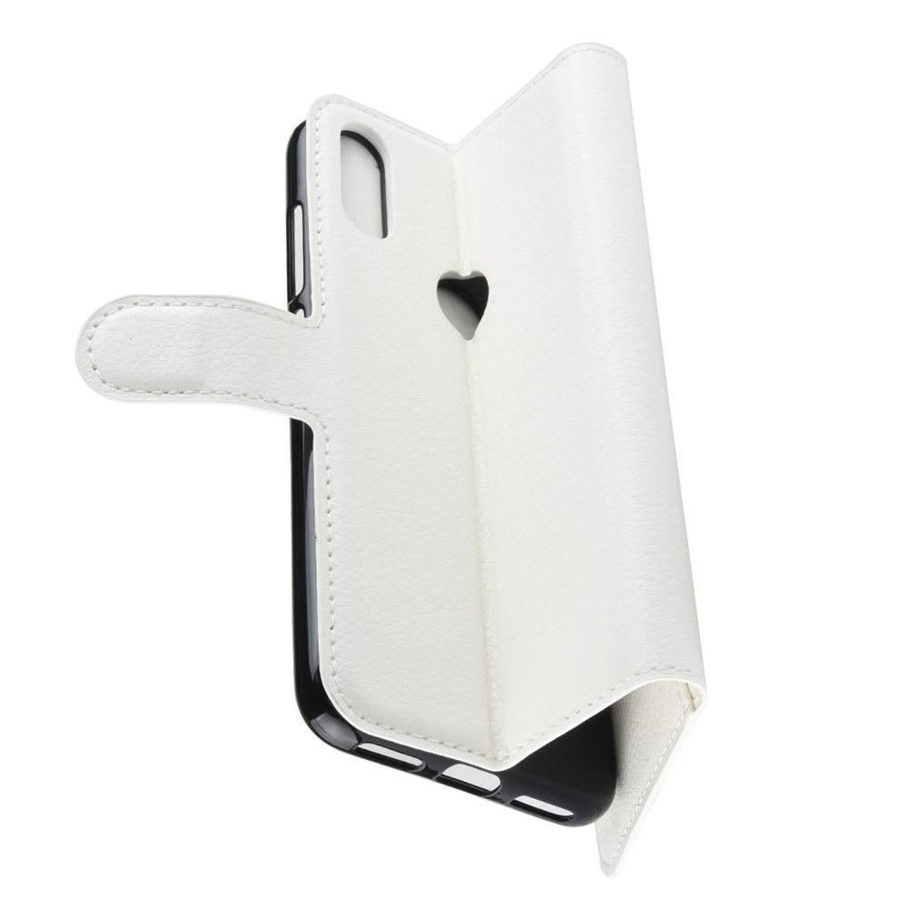 Флип чехол книжка с кошельком подставкой отделениями для карт и магнитной застежкой для Huawei Y7 2019 Белый