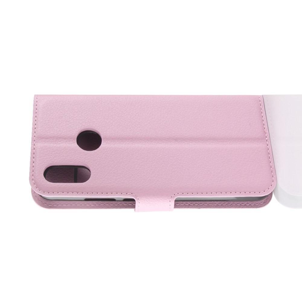 Флип чехол книжка с кошельком подставкой отделениями для карт и магнитной застежкой для Huawei Y7 2019 Розовый