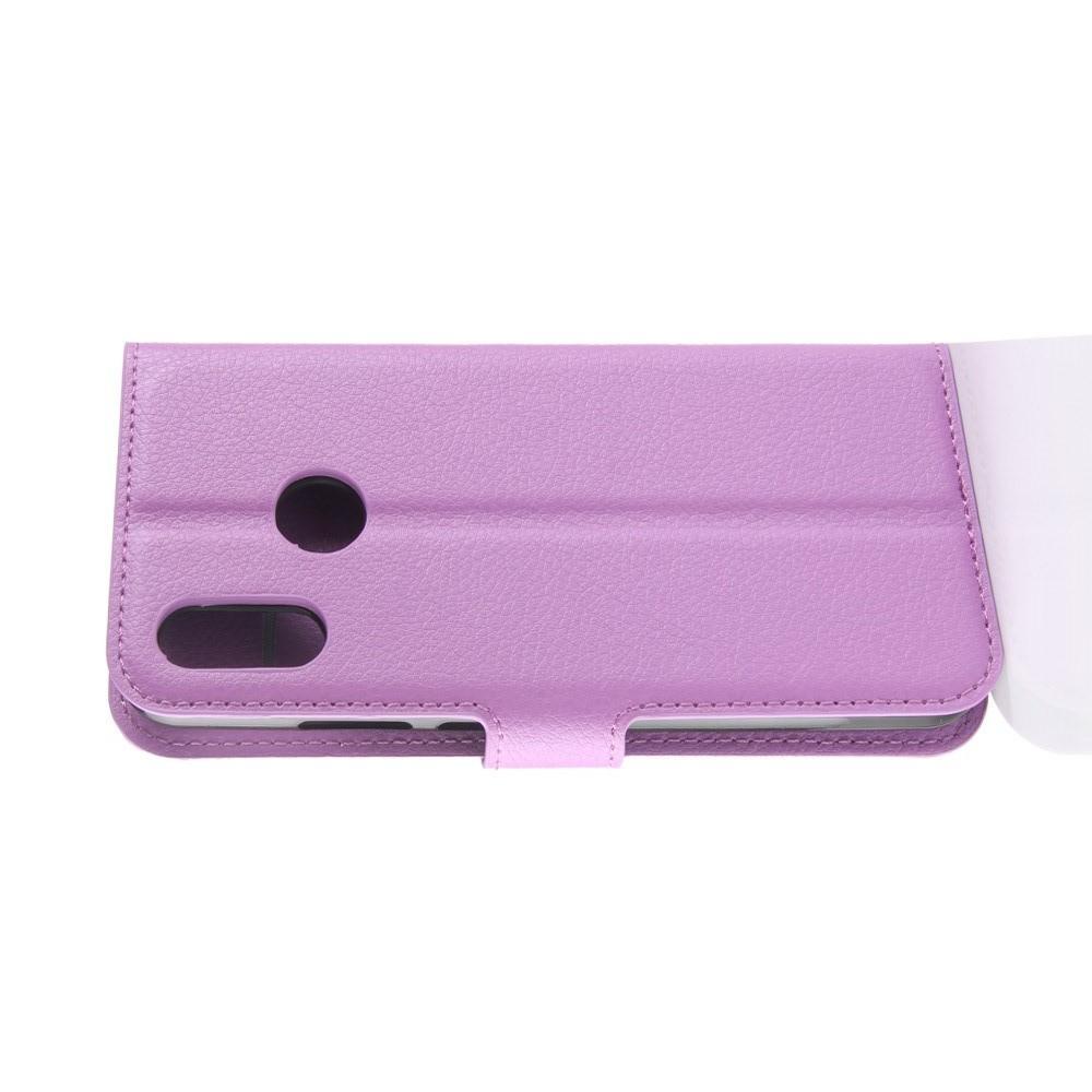 Флип чехол книжка с кошельком подставкой отделениями для карт и магнитной застежкой для Huawei Y7 2019 Фиолетовый