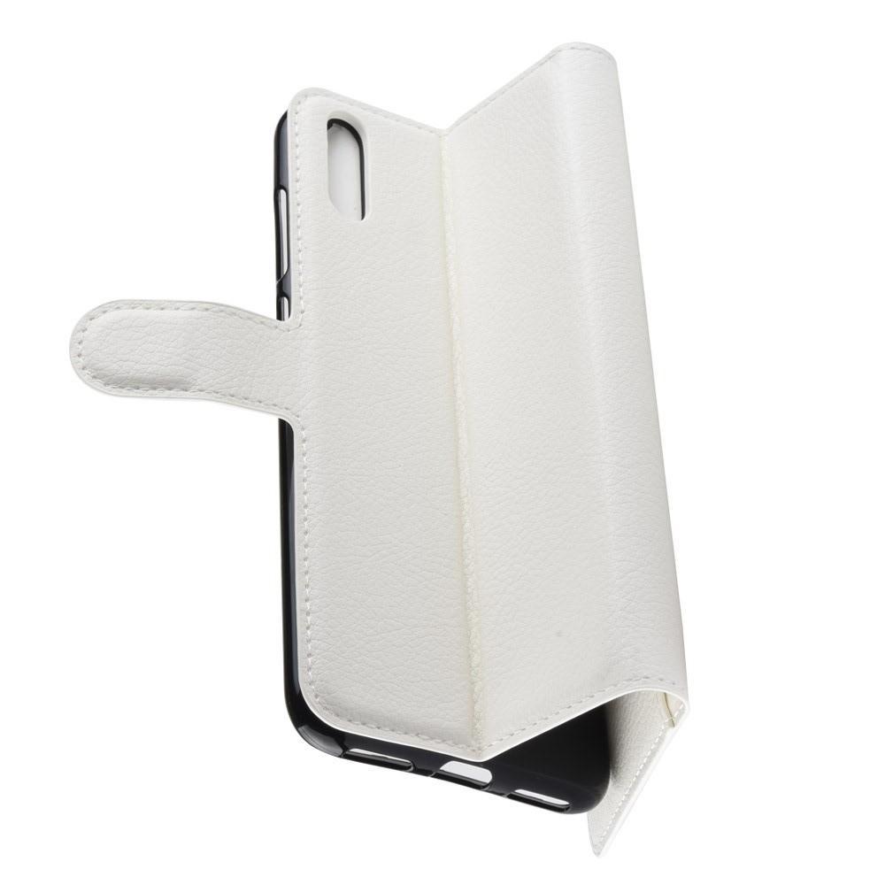 Флип чехол книжка с кошельком подставкой отделениями для карт и магнитной застежкой для Huawei Y7 Pro 2019 Белый